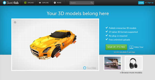 3D Portfolio auf Sketchfab.me